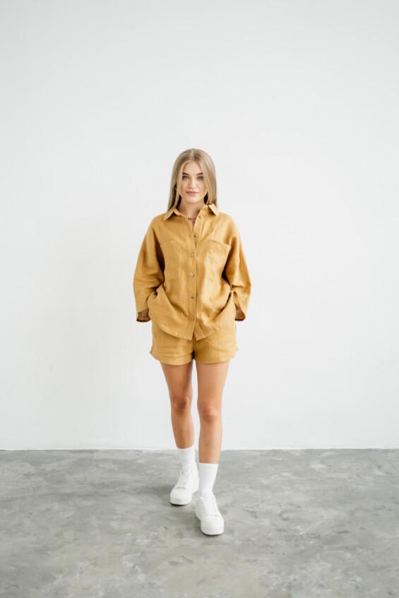 Moteriški lininiai marškiniai Marškinėliai  - 5