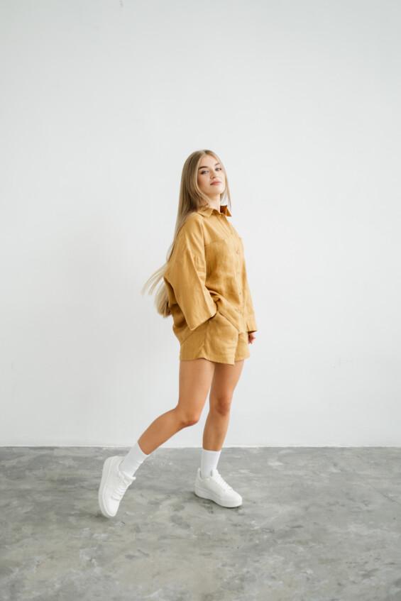Moteriški lininiai marškiniai Marškinėliai  - 4
